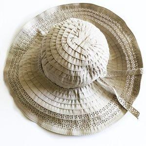 Lovely Taupe Embellished Wide Brim Hat NWOT!